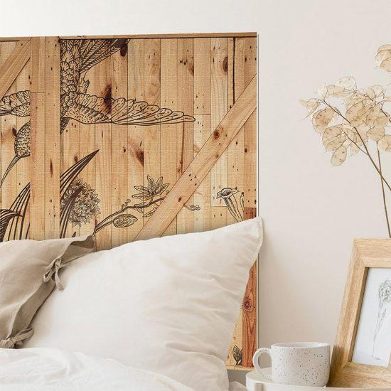 Detalle cabecero de cama de vinilo Flower Woods