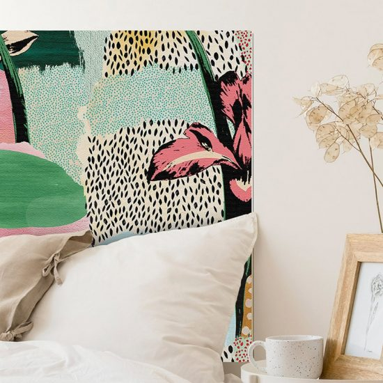 Detalle cabecero de cama de vinilo Artistic