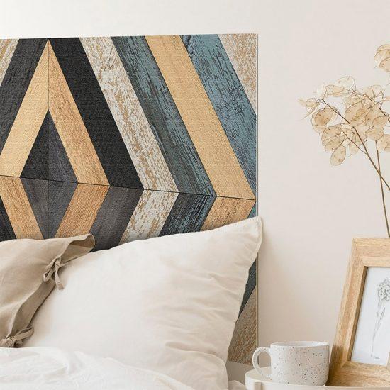 Detalle cabecero de cama de vinilo Hexagons Bismey