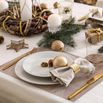 pack manteles y posavasos Árboles Brown detalle mesa