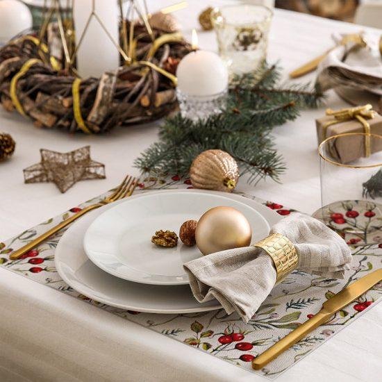 pack manteles y posavasos Navidad Holly detalle mesa
