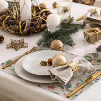 pack manteles y posavasos Acebo Navidad detalle mesa