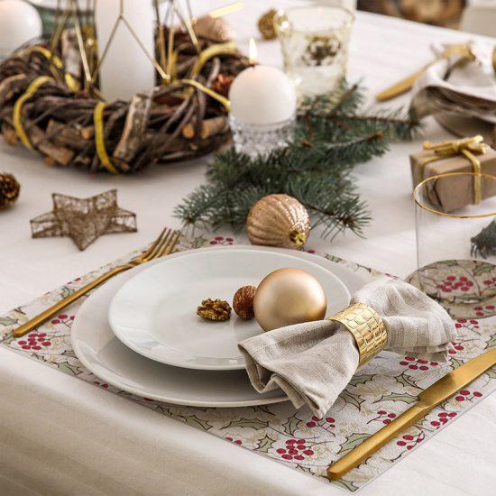 pack manteles y posavasos Navidad Floral detalle mesa
