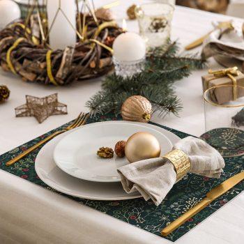 pack manteles y posavasos estampado navideño detalle mesa