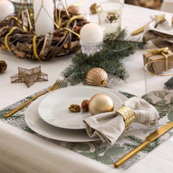 pack manteles y posavasos Merry Christmas Green detalle mesa