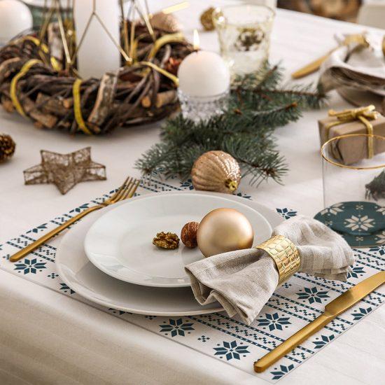 pack manteles y posavasos copos de nieve detalle mesa