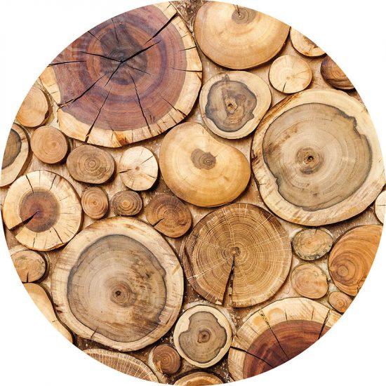 alfombra vinílica redonda Wood 60x60