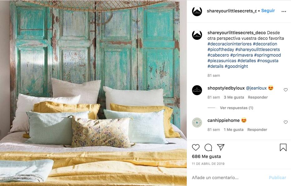 Cabecero de cama puerta vintages madera turquesa