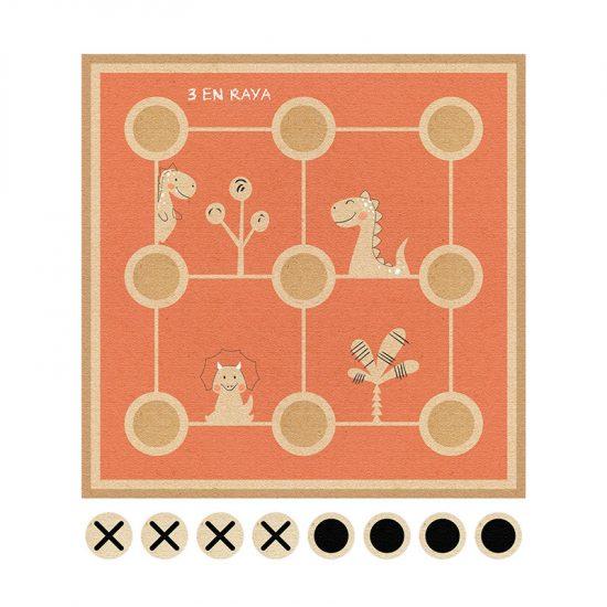 Alfombra didáctica 3 en raya Happy Animals Naranja- 96x96 cm