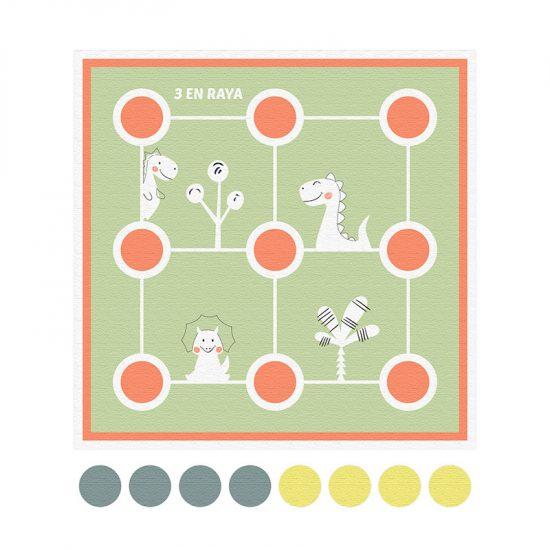 Alfombra didáctica infantil 3 en raya Happy Animals Verde - 48x48 cm