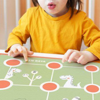 Alfombra didáctica Infantil 3 en raya Happy Animals Verde- 48x48 cm
