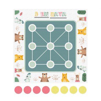 Alfombra didáctica infantil 3 en raya Animal Party - 48x48 cm