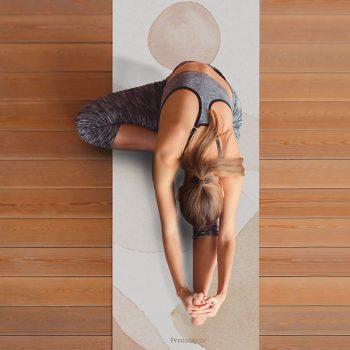 Yoga mat acuarela paisaje clase de yoga