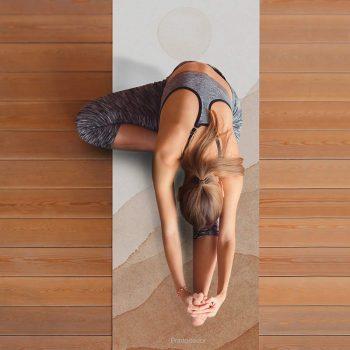 Yoga mat acuarela sol clase de yoga