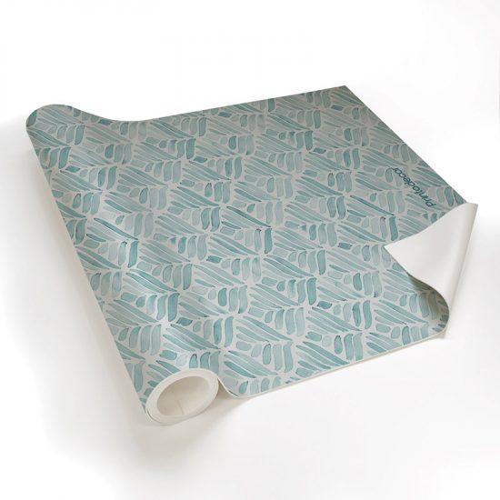 Yoga mat blue leaves detalle material