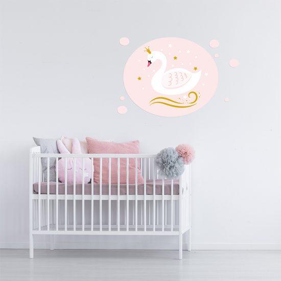 Vinilo infantil cisne rosa dormitorio infantil