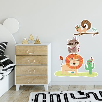 Vinilo infantil bosque animals dormitorio