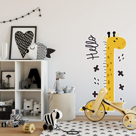 Vinilo infantil hello jirafa dormitorio infantil