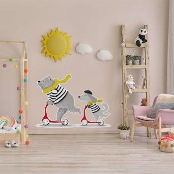 Vinilo infantil happy monopatín dormitorio infantil