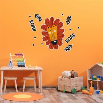 Vinilo infantil león feliz habitación juegos