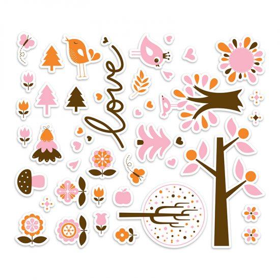 Vinilo infantil bosque love rosa distribución