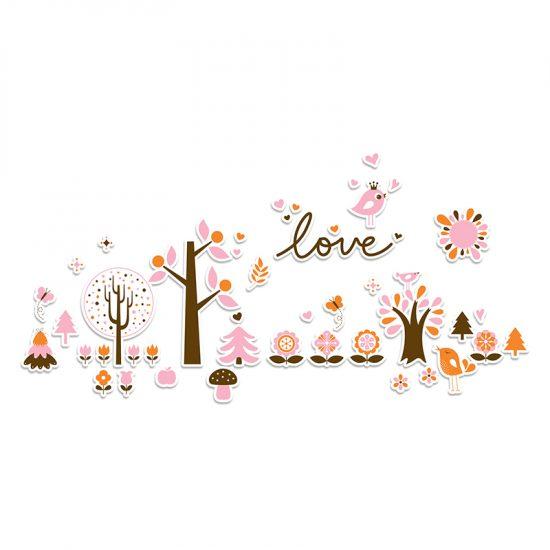 Vinilo infantil bosque love rosa