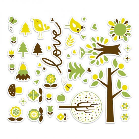 Vinilo infantil bosque love verde distribución