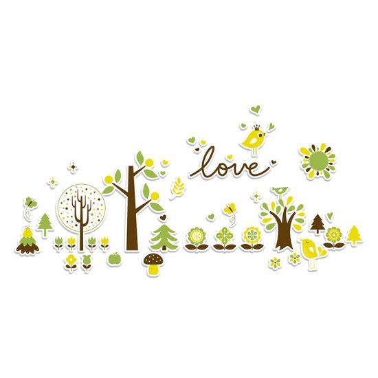Vinilo infantil bosque love verde