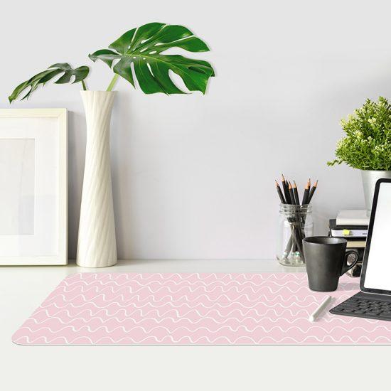 Protector de escritorio ondas rosas mesa oficina