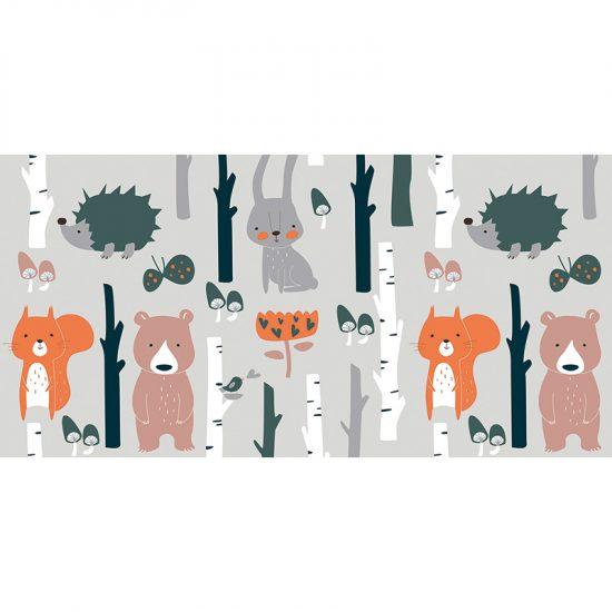 Alfombra vinílica infantil Animales del Bosque 97 x 48 cm