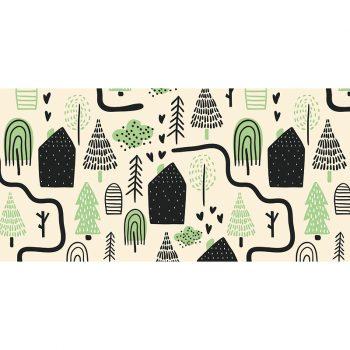 Alfombra vinílica infantil caminos verde 97 x 48 cm