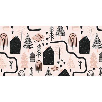 Alfombra vinílica infantil caminos rosas 97 x 48 cm