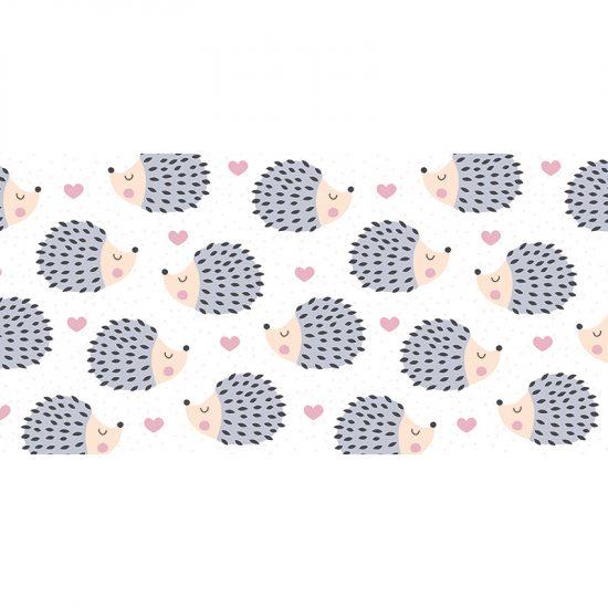 Alfombra vinílica infantil Erizos love rosa 97 x 48 cm