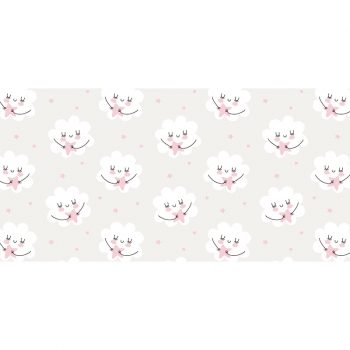 Alfombra vinílica infantil estrellas y nubes rosas 97 x 48 cm