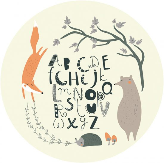 Alfombra vinílica infantil redonda ABC bosque feliz beige 60 x 60 cm