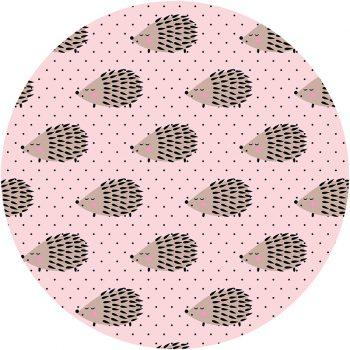 Alfombra vinílica infantil redonda Erizos rosa 60 x 60 cm