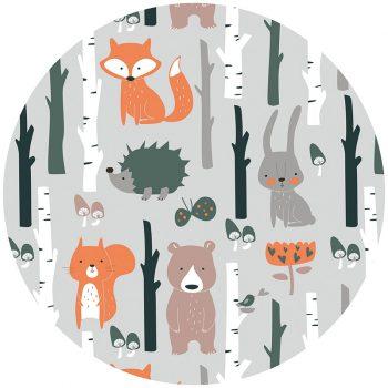 Alfombra vinílica infantil redonda animales del bosque 60 x 60 cm