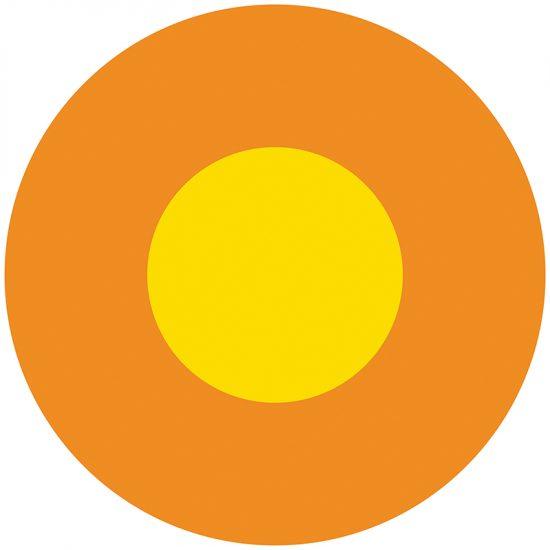 Alfombra vinílica infantil redonda Naranja y amarillo 60 x 60 cm