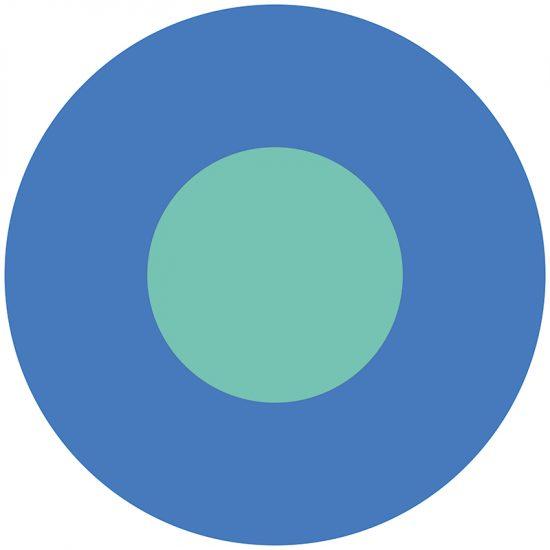 Alfombra vinílica infantil redonda azul y turquesa 60 x 60 cm