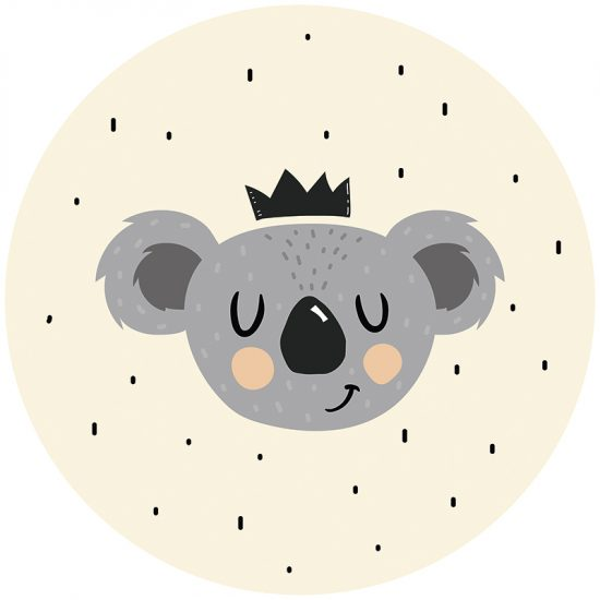 Alfombra vinílica infantil redonda happy Koala 60 x 60 cm