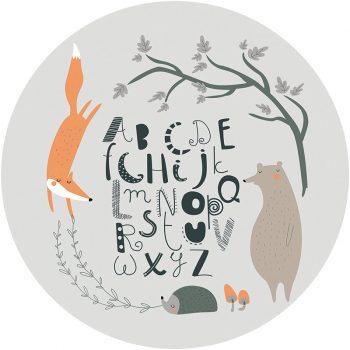 Alfombra vinílica infantil redonda ABC bosque feliz gris 60 x 60 cm