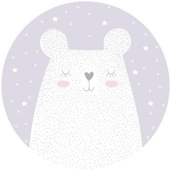 Alfombra vinílica infantil redonda oso soñador 60 x 60 cm