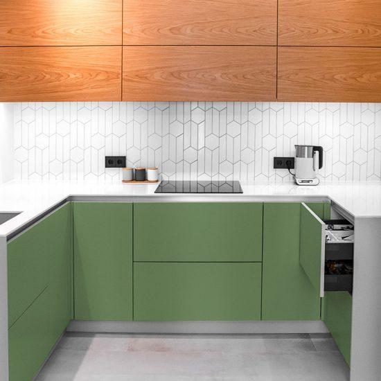 Vinilo decorativo verde cocina