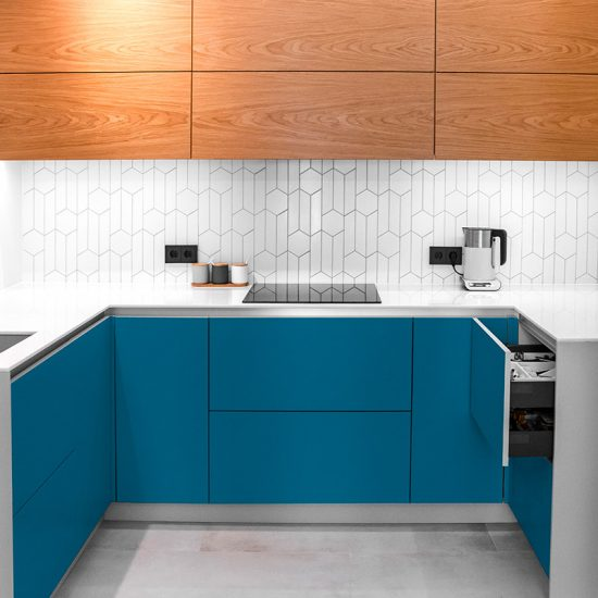 Vinilo decorativo azul cocina