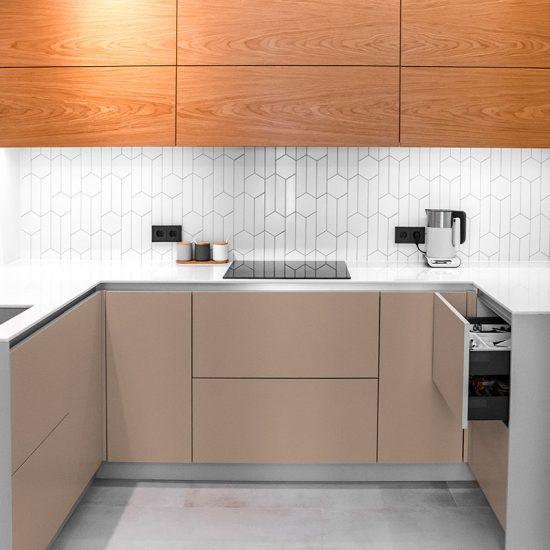 Vinilo decorativo marrón cocina