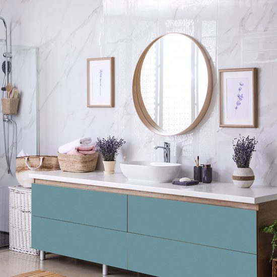 Vinilo decorativo azul verde baño