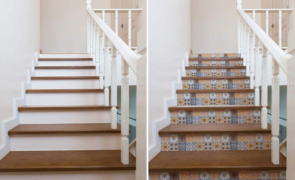 Azulejos vinílicos contahuellas escaleras