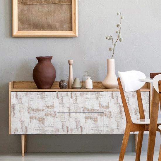 vinilo decorativo White Wood, comedor