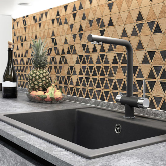 vinilo decorativo Triangles Wood, cocina