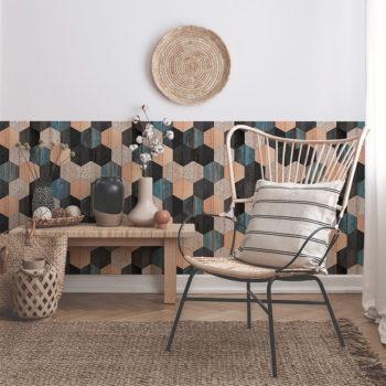 vinilo decorativo Wood Hexagons, salón